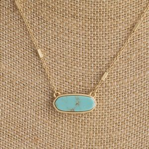Turquoise Dainty Oval Trendy Small Gold Necklace